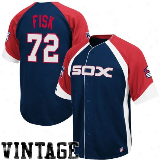 Chicago White Sox Jerseys : Majesyic Chicago Whitw Sox #72 Carlton Fisk Navy Blue-red Wheelhouse Cooperstown Player Baseball Jerseys