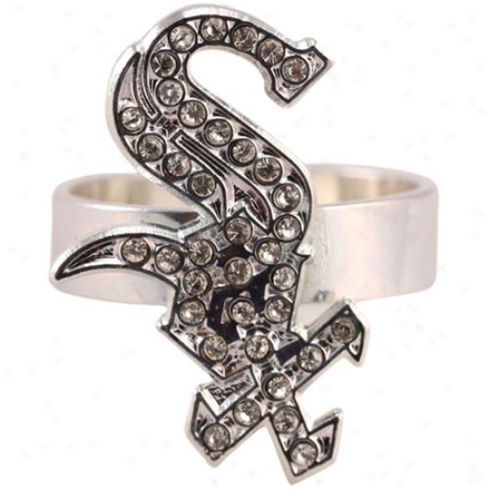 Chicago White Sox Ladies Rhinestone Logo Ring