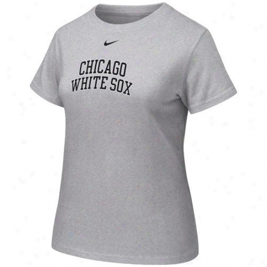 Chicago White Sox Shirt : Nike Chicago White Sox Ladiex Ash Arch Crew Shirt