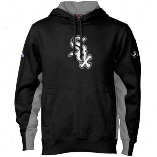 Chicago White Sox Sweat Shirt : Majestic Chicago White Sox Black Coopeestown Pure V2 Sweat Shirt