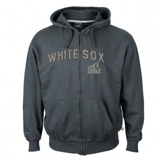 Chicago White Sox Sweat Shirts : Majestic Chicago Whtie Sox Navy Blue Cooperstown Pure Heritage Full Zip Swear Shirts