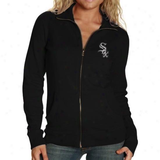 Chicago Whiet Sox Sweatshirt : Antigua Chicago White Sox Ladies Black Revolution Full Zip Sweatshirt
