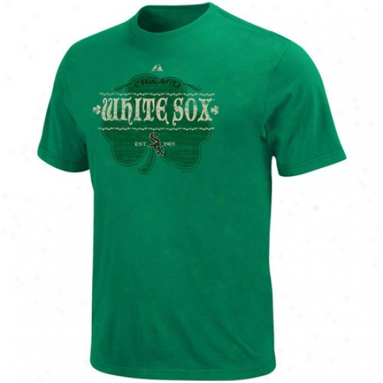 Chicago White Sox Tees : Majestic Chicago Pure Sox  Kelly Green Irish Baseball Tees