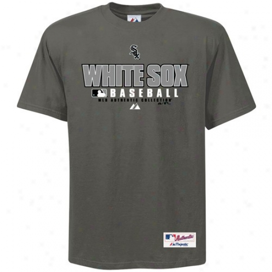 Chicago White Sox Tshirt : Majestic Chicago White Sox Charcoal Exercise Tshirt