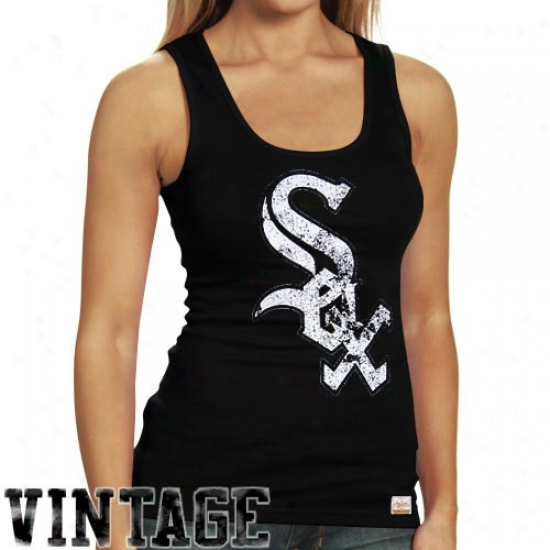 Chicago White Sox Tshirts : August Select Chicago White Sox Ladies Black Racer Vintage Premium Tank Top