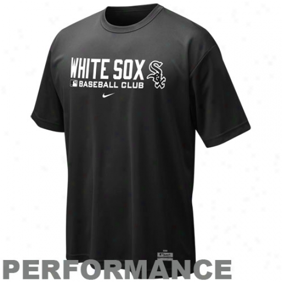 Chicago White Sox Tshirts : Nike Chicago White Sox Black Nikefit Team Issue Performance Training Top
