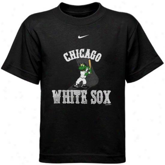 Chicago White Sox Tshirts : Nike Chicago White Sox Black Peeschool Mascot Tshirts