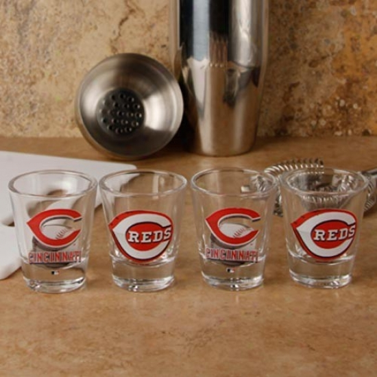Cincinnati Reds 4-pack Enhanced High Definition Design Shot Glass Set