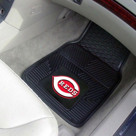 Cincinnati Reds Black 2-piece Vinyl Car Mat Set