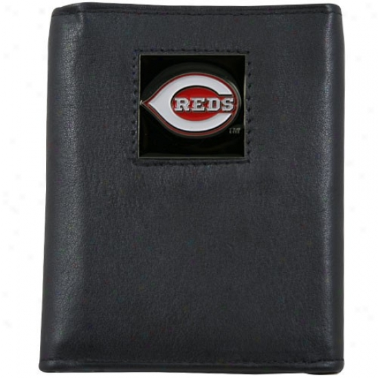 iCncinnati Reds Black Tri-fold Leather Exectuive Wallet