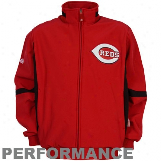 Cincinnati Reds Jackts : Majestic Cincinnati Reds Youth Red Therma Base Premier Elevation Performance Jackets
