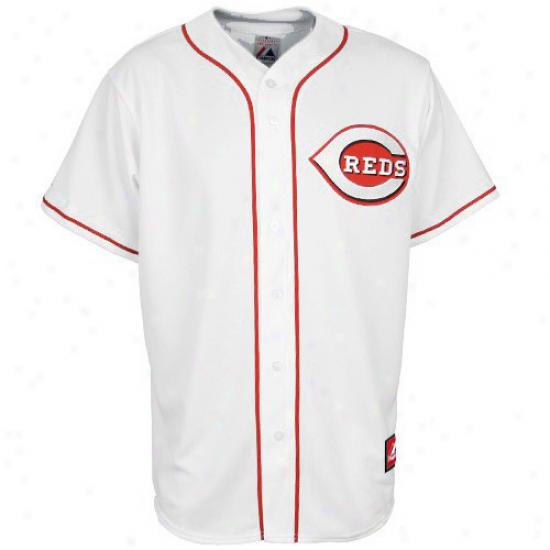 Cincinnati Reds Jersey : Majestic Cincinnati Reds Youth Autograph copy Jersey-white