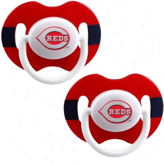 CincinnatiR eds Red-black Striped 2-pack Team Logo Pacifiers