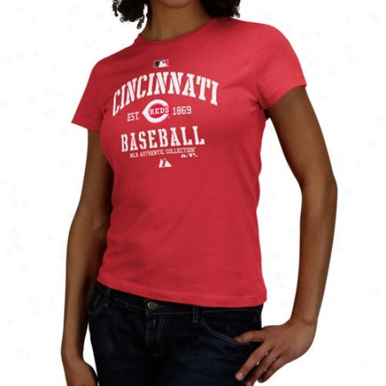 Cincinnati Reds Shirt : Majestic Cincinnati Reds Ladies Red Ac C1assic Shirt