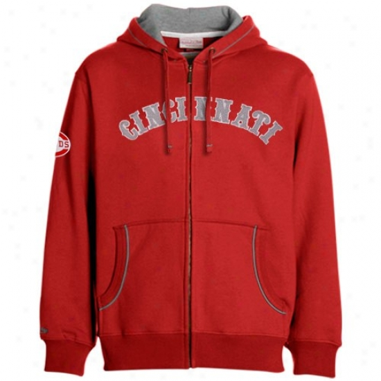 Cincinnati Reds Stuff: Mitchell & Ness Cincinnati Reds Red Cooperstown Full Zip Hoody Sweatshirt