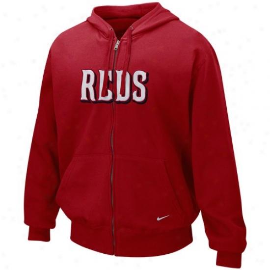 Cincinnati Reds Stuff: Nike Cincinnati Reds Red Tackle Twill Full Zip Hoody Sweatshirt