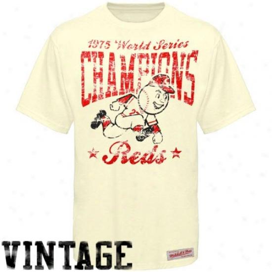 Cincinnati Reds T Shirt : Mitchell & Ness Cincinnati Reds Natural Retro 1975 World Series Cooperstown Premium T Shirt