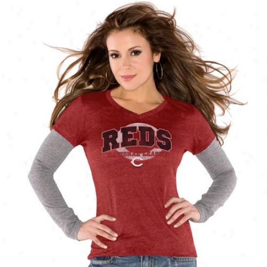 Cincinnati Reds Tees : Touch By Alyssa Milano Cincinnati Reds Ladies Red Double V Triblend Premium Tees