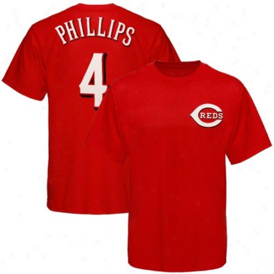 Cincinnati Reds Tshrits : Elevated Cincinnati Reds #4 Brandon Phillips Red Player Tshirts