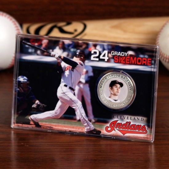 Cleveland Indians #24 Grady Sizemore Silvery Plate Coin Card