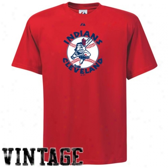 Cleveland Indians Attire: Majestic Cleveland Indians Red Cooperstown Official Logo T-shirt