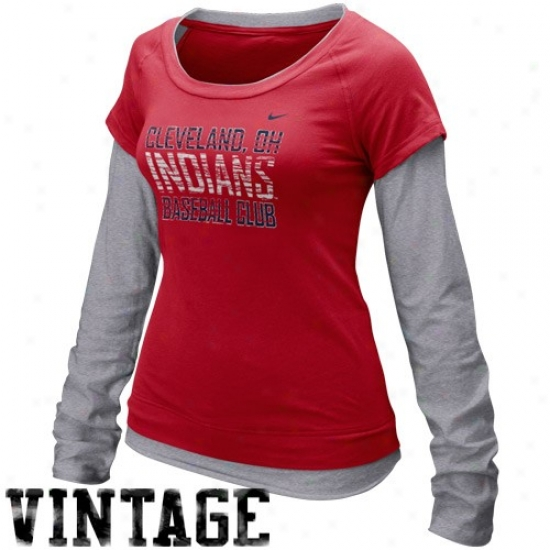 Cleveland Indians Attire  Nike Cleveland Indians Lades Red-gray Who s My  Team Double Layer cea0bae0d