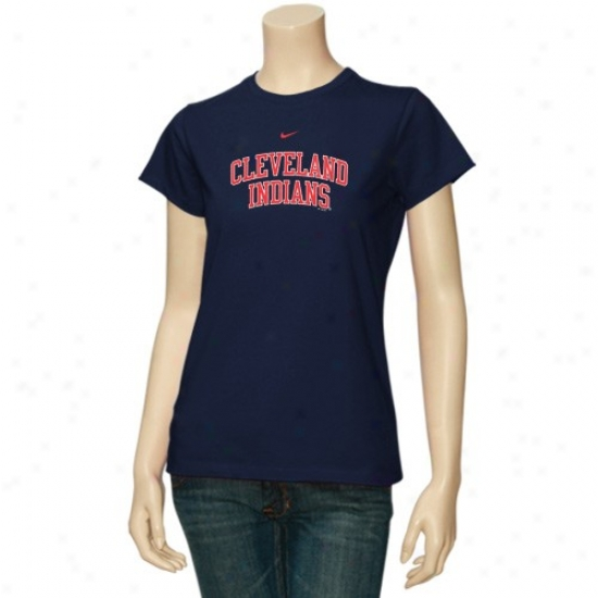 Cleveland Indians Attire: Nike Cleveland Indians Ladies Navy Blue Arch Crew T-shirt