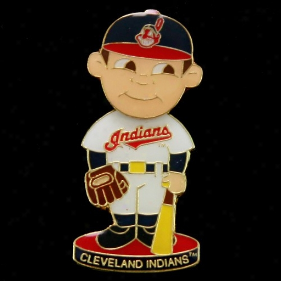 Cleveland Indians Gear: Cleveland Indians Bobble Head Basebapl Player Pin