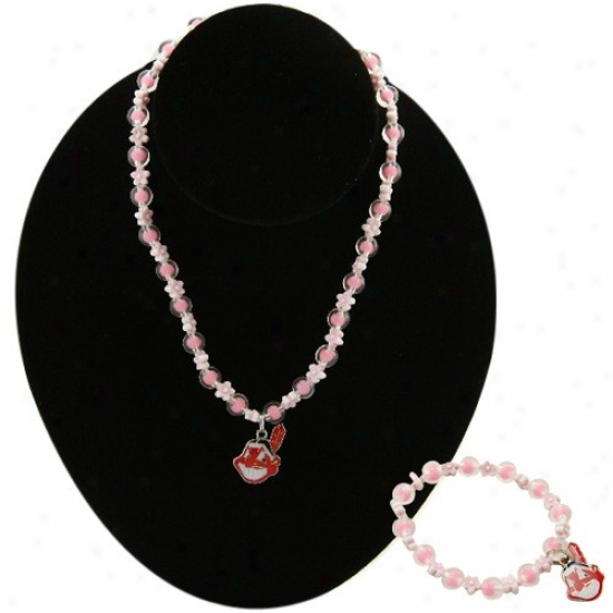 Cleveland Indians Girls Pink Beaded Bracelet & Necklace Set W/team Logo Charm