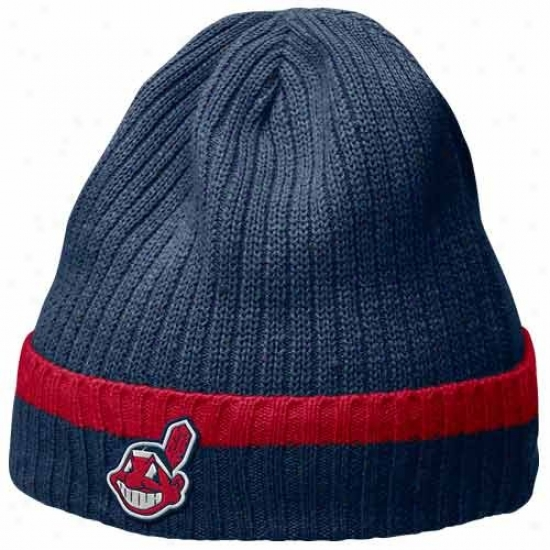 Cleveland Indians Hats : Nike Cleveland Inddians Navy lBue Dugout Beanie