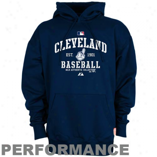 Cleveland Indians Hoodies : Majestic Cleveland Indians Navy Blue Ac Classic Therma Base Performance Hoodies
