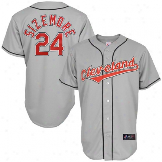 Cleveland Indians Jerswy : Majestic Grad ySizemore Cleveland Indians Replca Jersey-#24 Hoary