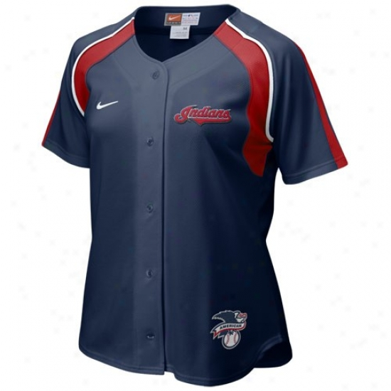 Cleveland Indians Jersey : Nike Cleveland Indians Navy Biue Ladies Home Dish Baseball Jersey