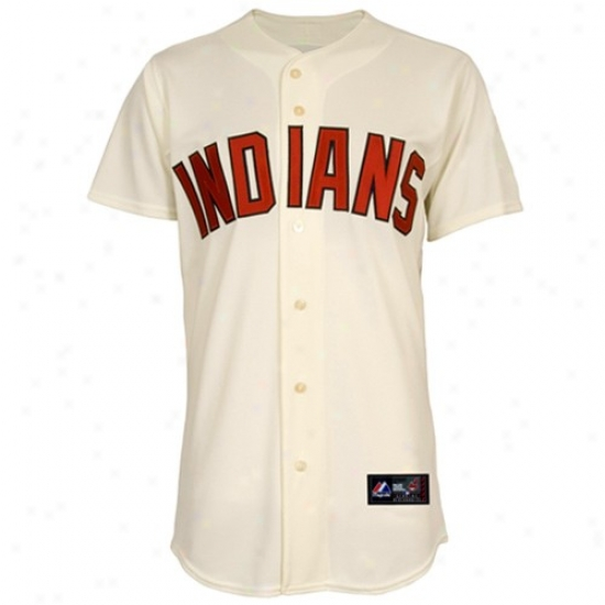 Cleveland Indians Jerseys : Majestic Cleveland Indians Cream Replica Baseball Jerseys