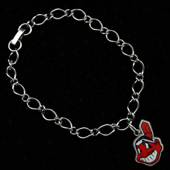 Cleveland Indians Ladies Silver-tone Charm Bracelet