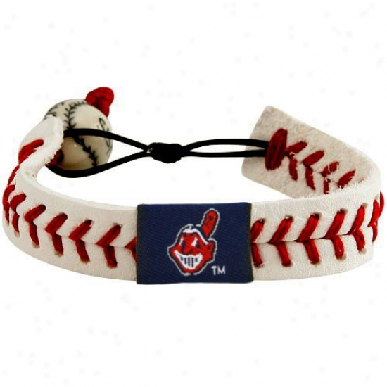 Clevelan Indians Leather Baseball Seam Bracelet