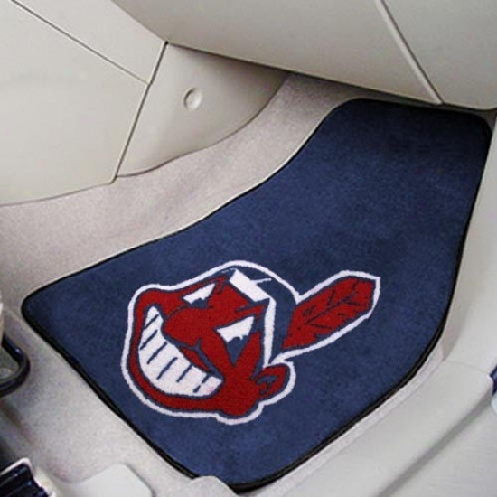 Cleveland Indians Navy Blue 2-piece Carpet Car Mat Set