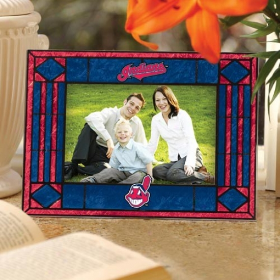 Cleveland Indans Navy Blue Art-glass Horizontal Picture Frame