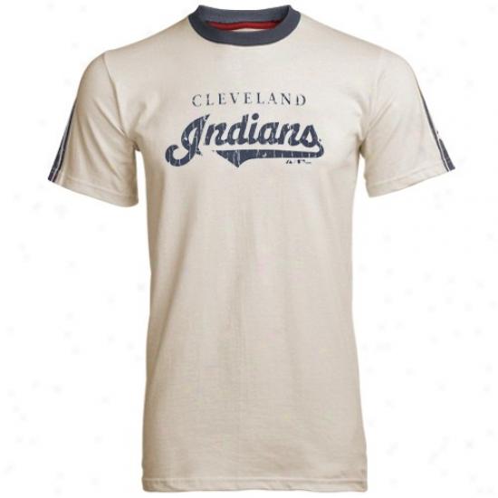 Cleveland Indians Shirtts : Majestic Cleveland Indians Natural Vintage Streak Shirts