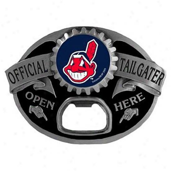 Cleveland Indians Silver Official Tailgater Bottle Opener Brlt Buckle
