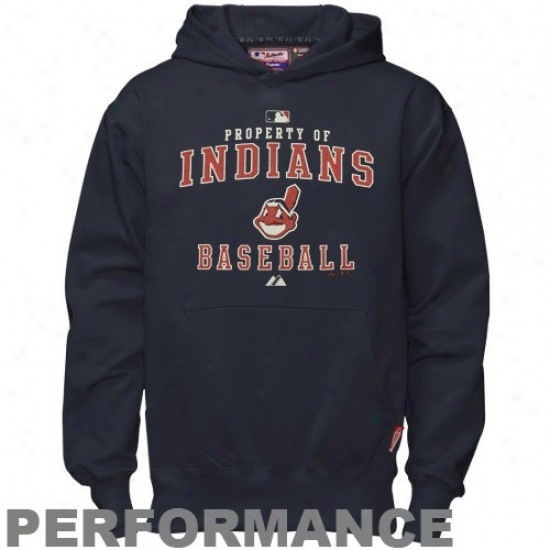 Cleveland Indians Sweatshirt : Majestic Cleveland Indians Youth Navy Blue Property Of Performance Sweatshirt
