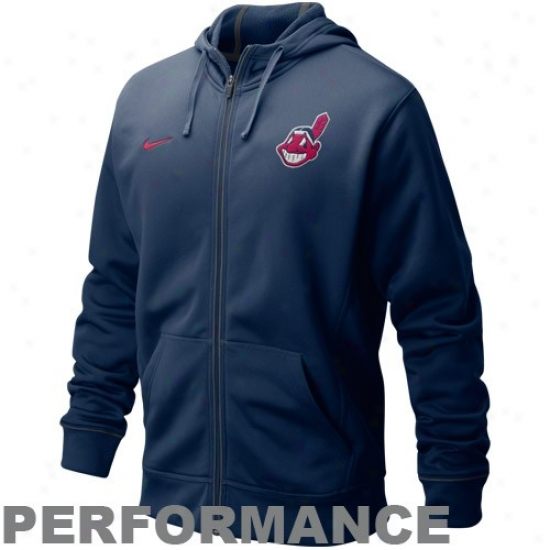 Cleveland Indians Sweatshirt : Nike Cleveland Indians Navy Blue Four Bagger Full Zip Performance Sweatshirt