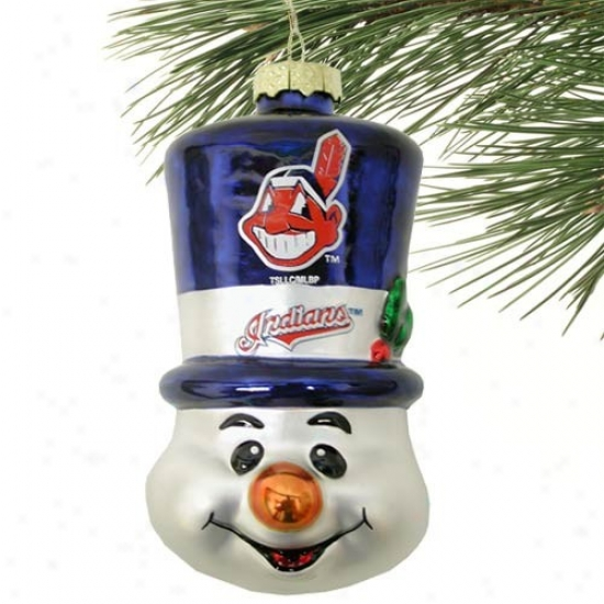 Cleveland Indians Top Hat Snowman Stale Glass Ornament