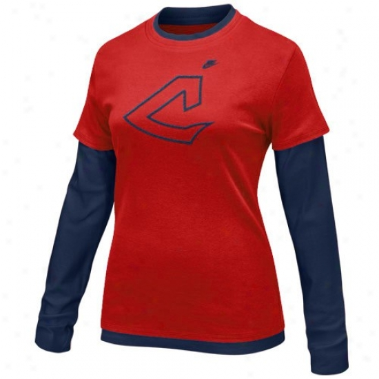 Cleveland Indians Tshirt : Nike Cleveland Indians Ladies Red-navy Blue Cooperstown Layered Long Sleeve Tshirt