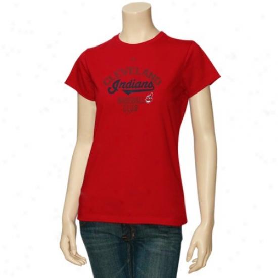 Cleveland Indians Tshirts : Majestic Cleveland Indians Ladies Red Cluv Sunburst Tshirts