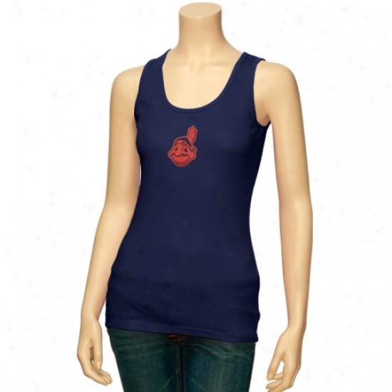 Cleveland Indians Tshirts : Majestic Cleveland Indians Navy Blue Crystal Tank Top