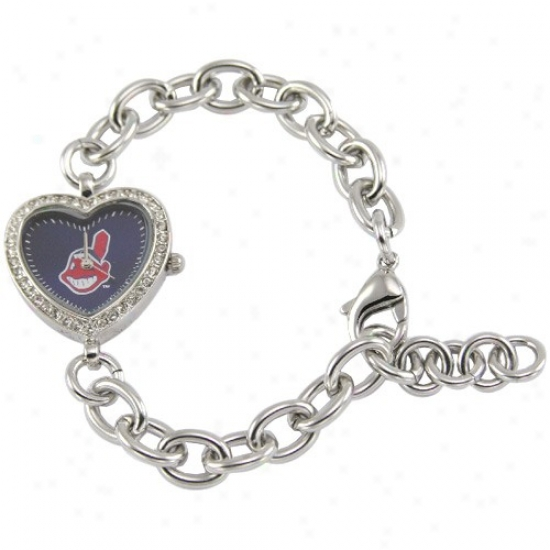 Cleveland Indians Watch : Cleveland Indians Ladies Silver Heart Watch