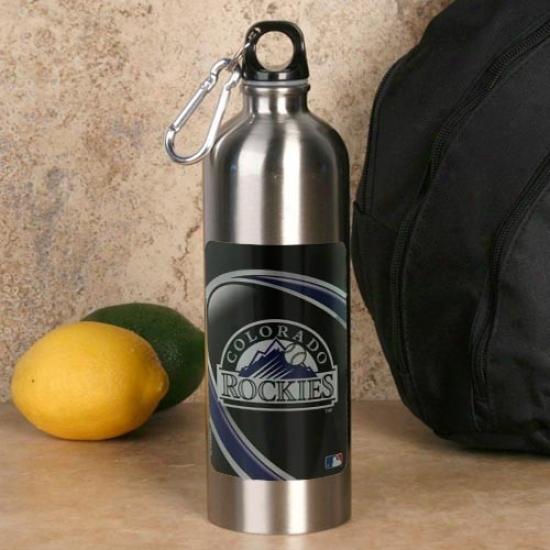 Colorado Rockies 750ml Stainless Steel Water Bottle W/ Carabiner Clip