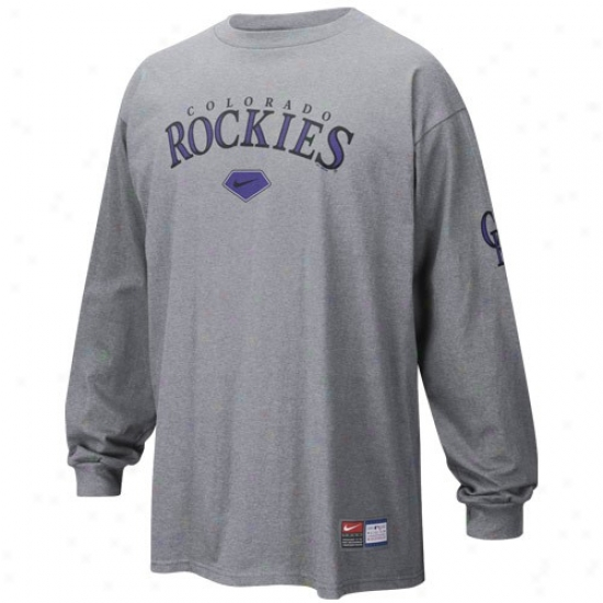 Colorado Rockies Apparel: Nike Colorado Rockies Ash Practice Long Sleeve T-shirt
