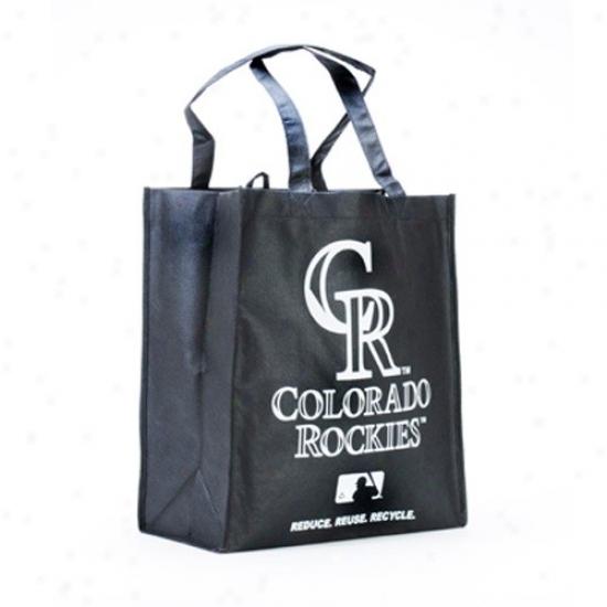 Colorado Rockies Black Reusable Tote Bag